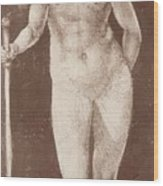 Standing Female Nude With Baton In The Right Wood Print