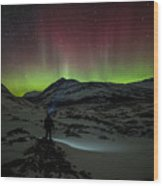 Standing In Awe Of The Auroras Wood Print