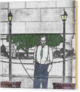 Standing On A Corner In Asheville Carolina Wood Print
