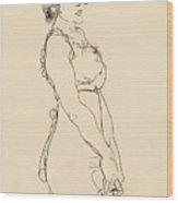 Standing Woman Wood Print