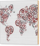Stanford University Colors Swirl Map Of The World Atlas Wood Print