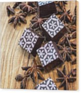 Star Anise Chocolate Wood Print