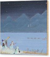 Star Gazing Snowmen Wood Print by Thomas Griffin