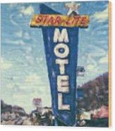 Star-lite Motel Wood Print