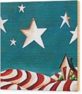 Star Spangled Wood Print by Cindy Thornton