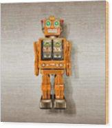 Star Strider Robot Orange Wood Print