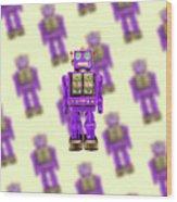 Star Strider Robot Purple Pattern Wood Print