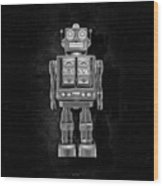 Star Strider Robot Red Bw Wood Print