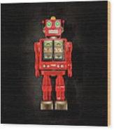 Star Strider Robot Red On Black Wood Print