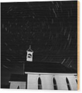 Star Tracks Over Saint Columba Anglican Country Church Wood Print
