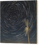 Star Trail In Hays, Ks Wood Print