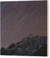 Star Trails Above Himal Chuli Created Wood Print