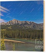 Star Trails Above The Front Ranges Wood Print