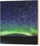 Star Trails And Aurora Wood Print