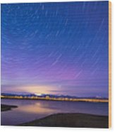 Star Trails And Auroras Wood Print