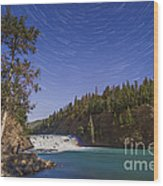 Star Trails And Moonbow Over Bow Falls Wood Print