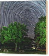 Star Trails At Sunken Meadow State Park Wood Print