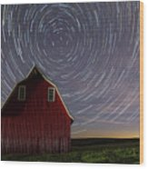 Star Trails At The Red Barn Wood Print