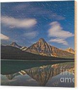 Star Trails Behind Mount Chephren Wood Print