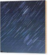 Star Trails Long Exposure At Night Wood Print by Evan Sharboneau