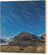 Star Trails Over Columbia Icefields Wood Print