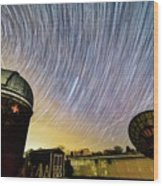 Star Trails Over Custer Observatory Wood Print