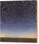 Star Trails Over Mountains Wood Print