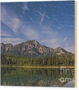 Star Trails Over Patricia Lake Wood Print