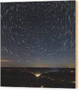 Star Trails Over Whitesburg Wood Print