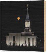 Star Valley Wyoming Temple -  Grain Harvest Moon Wood Print
