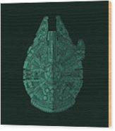 Star Wars Art - Millennium Falcon - Blue Green Wood Print