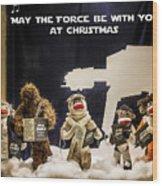 Star Wars Christmas Card Wood Print