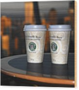 Starbucks At The Top Wood Print