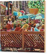 Starbucks Cafe On Monkland Montreal Cityscene Wood Print