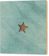 Starfish Aquamarine Wood Print