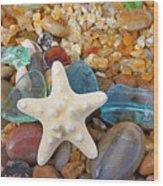 Starfish Art Prints Star Fish Seaglass Sea Glass Wood Print