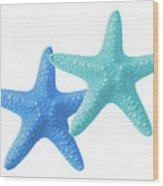 Starfish Blue And Turquoise On White Wood Print