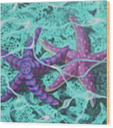 Starfish In Love Wood Print