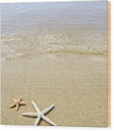 Starfish On Beach Wood Print