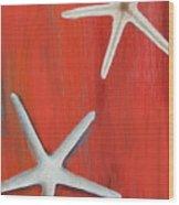 Starfish On Red Wood Print