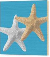 Starfish On Turquoise Wood Print
