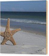Starfish Standing On The Beach Wood Print