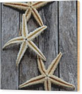 Starfishes In Wooden Wood Print