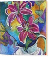 Stargazer Lilies Wood Print