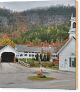 Stark Covered Bridge And Village Wood Print