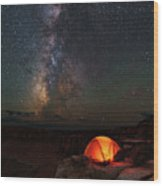 Starlight Camping On The Canyon Edge Wood Print