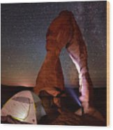 Starlight Tent Camping At Delicate Arch Wood Print