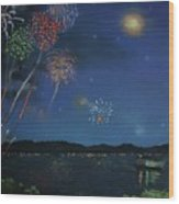 Starry Night At Crooked Creek Marina Wood Print