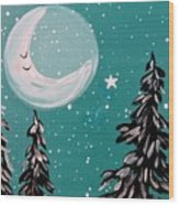Starry Night Crescent Moon  Wood Print