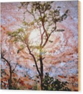 Starry Night Fantasy, Tree Silhouette Wood Print